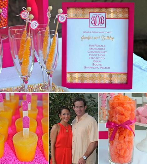 40 cumpleaños rosa naranja anfitriones