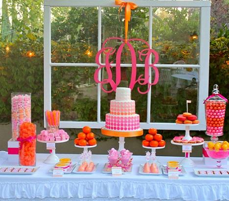 40 cumpleaños rosa naranja