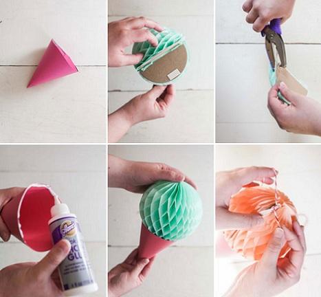 como hacer una guirnalda helados pegar