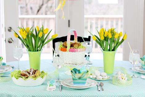 Decoración mesa primavera