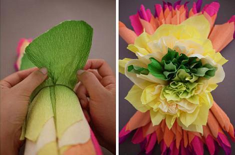 Hacer una flor de papel crepé