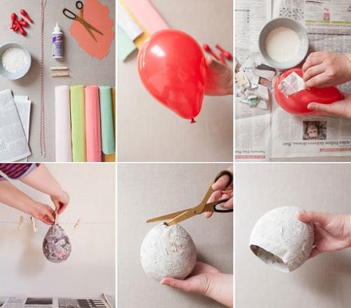 como hacer piñata helados globo