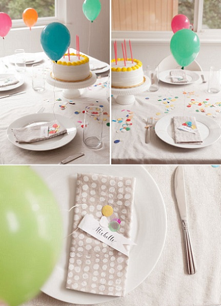 decoracion mesa globos serpentina