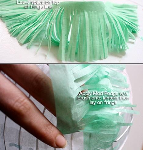 decorar lamparas papel flecos