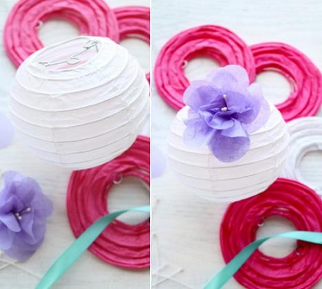 decorcion exteriores lamparas papel flor