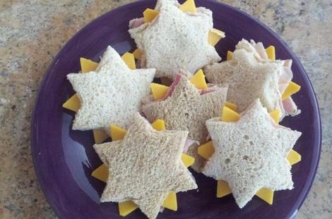 sandwiches formas fiestas estrellas