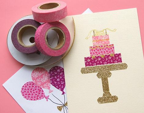 invitaciones de cumpleaños washi tape
