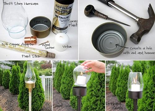 lámparas jardín recicladas