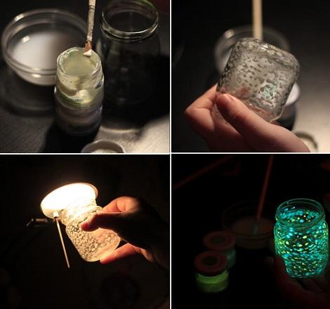 tarro cristal luminoso materiales