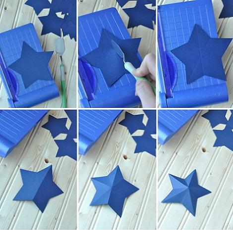como hacer guirnalda papel estrellas cortar