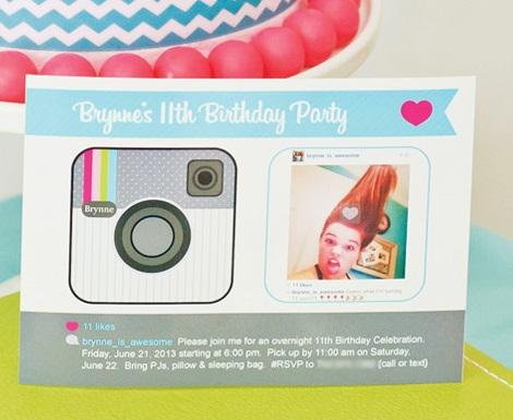 fiesta temática instagram invitaciones