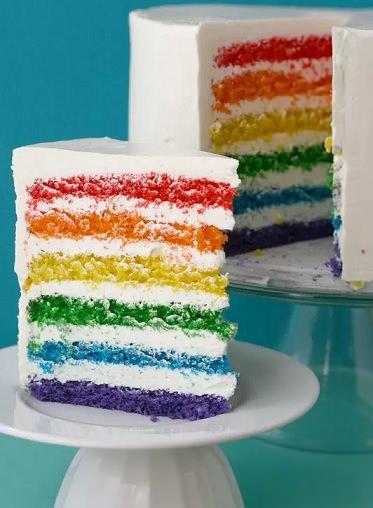 cómo hacer una tarta arcoiris en casa
