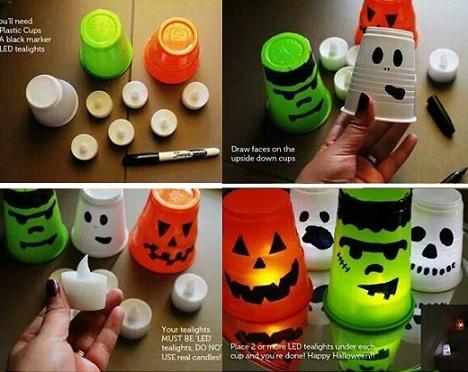 decoración de vasos para halloween