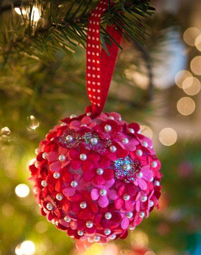 adornos de navidad flores de fieltro
